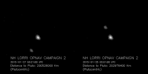 First images taken from New Horizon on January 25th and 27th, showing Pluto and Charon. Taken at a dstance of 126 mllion miles Image credit: http://pluto.jhuapl.edu