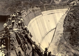 The dam under construction, c1900 Photo Credit: SA Water
